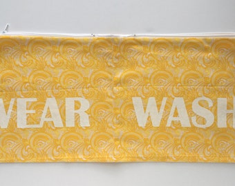Yellow and White Mod Wear and Wash Travel Laundry Bag