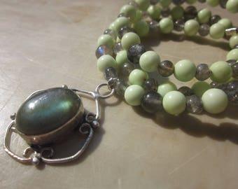Labradorite and Lemon Chrysoprase Necklace