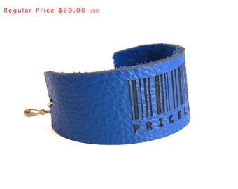 Leather Cuff - Slim Engraved Barcode bracelet in Cobalt Blue, PRICELESS adjustable size. modern jewelry, gift for her