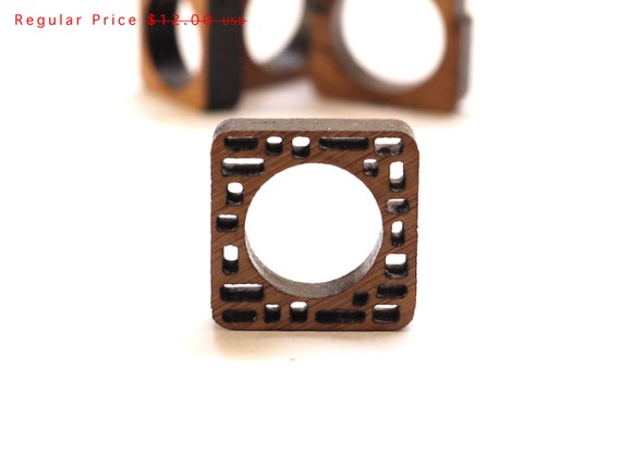 eco friendly wood ring - Bamboo Wood Irregular Block Ring - modern jewelry. geometric spring fashion gifts