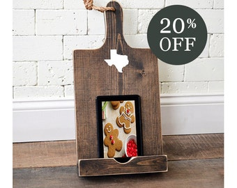 Sale - Wood iPad Stand - Cutting Board Style Cookbook Holder - Housewarming Gift - Black Friday - Cyber Monday - Gift - iPad