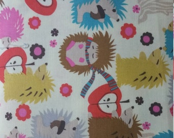 Hedgehog Meadow  by Micheal Miller hedgehogs, acorns, apples, and flowers on cream quilt fabric