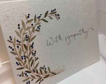 OOAK Leaves and Blueberries Garland Sympathy Card