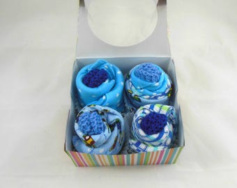 Baby Cupcakes, Washcloth Cupcakes, Burp Cloth Cupcakes, Set of 12 Cloths in Trains, Polka Dots, & Plaid and 2 Sets of Booties in Blue