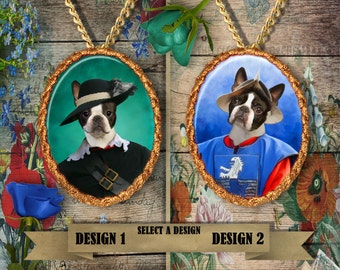 Boston Terrier Jewelry/Boston Terrier Pendant or Brooch/Boston Terrier Necklace/Dog Handmade Jewelry/Custom Dog Jewelry by Nobility Dogs