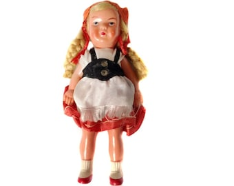 "Edi Germany Doll Edi Puppen Edi Puppets Small German Doll Erich Dittmann 4.5"" Blonde Hair Braids Foreign Costume Doll of the World"