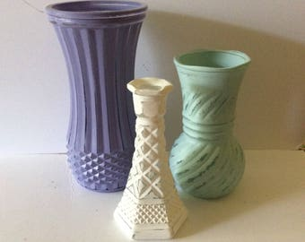 Painted Vases - Shabby Cottage Chic - Spring Decor Set Of 3 - Centerpiece Wedding - Distressed - Aqua Mint White Lavender -  Vase Collection