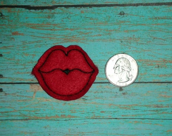 Kiss Lips Feltie - Small Red felt - Great for Hair Bows, Reels, Clips and Crafts - Valentines