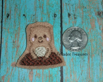 Groundhog popping out of hole white felt - Great for Hair Bows, Reels, Clips and Crafts - Woodchuck Spring Weather