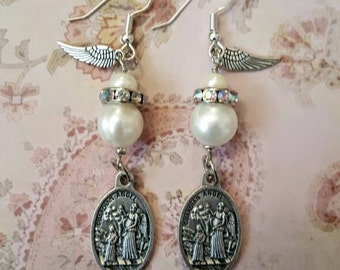 Angel earrings, guardian angel earrings, genuine pearl earrings, vintage earrings, angel wing earrings
