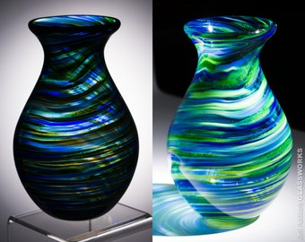 Small Slender Hand Blown Glass Vase - Bulbous Shape with Blue and Metallic Green Swirls