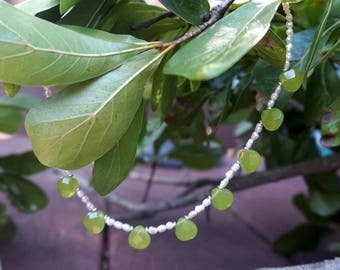 Bright Green Jade Teardrops with White Rice Pearls