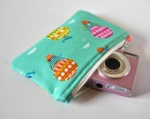 Woman's gadget padded travel camera pouch vintage Victorian hot air balloon cloud print in aqua blue green.