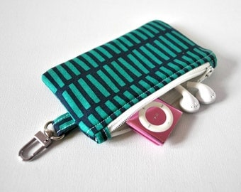 Key chain block print coin pouch padded gadget change purse in navy blue and aqua green print.