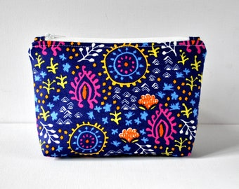 Woman's Mexican festival floral beauty pouch blue pink padded toiletry cosmetics travel makeup bag in medium.