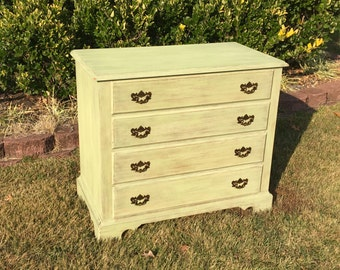 Vintage Chic Cottage Green Dresser