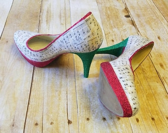 Music shoes, wedding shoes, music note shoes, musical note, sheet music, bridal shoes, red shoes, glitter shoes