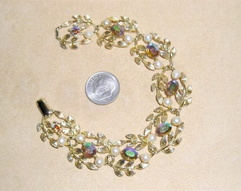 Vintage Signed Lisner Iridescent Rhinestone Bracelet With Faux Pearls 1960's Jewelry 1036