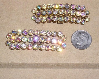 Vintage Pair Of Iridescent Crystal Rhinestone Shoe Clips 1960's Jewelry  11011