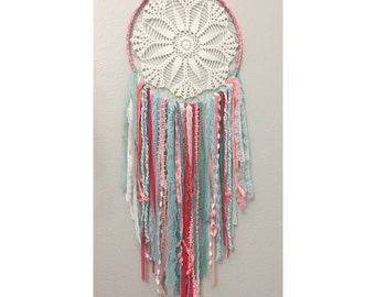 Aqua Coral and White Doily Dream Catcher with New and Vintage Lace