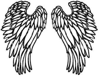 Glitter HTV Iron On Transfer - Angel Wings - Design DIY Applique