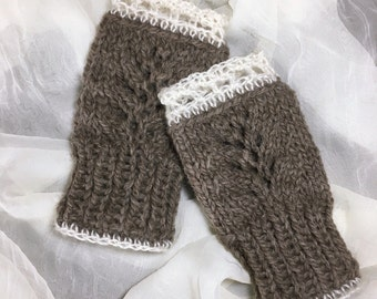 Woodland Lace Handwarmers  -  Wool & Kid Mohair -  4 Color Choices