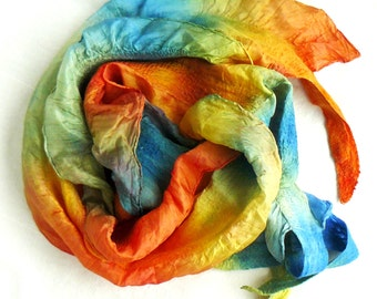 Nuno Felted Scarf, Silk wool shawl - hand-felted and hand painted  colorful