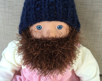 Toddler Bearded Beanie - Navy Blue Hat W/ Fuzzy Brown Beard 1-2 years Toddler Warm Mask