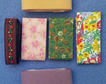 Vintage Ribbon Assortment Mix, six ribbons, one yard each, six yards total - jacquard, floral, calico, velvet, weatherproof, fabric ribbon
