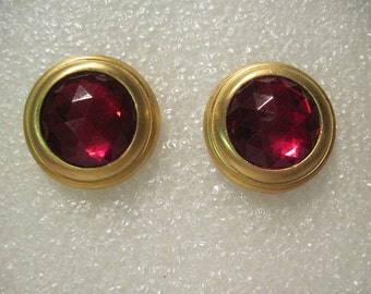 Vintage Gold Tone with Red Stones Clip On Non Pierced Earrings Heavy
