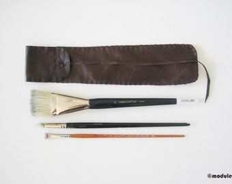 The Bohemian Brush Pouch - long brush bag, rustic, for artists, upcycled dark brown leather, hand stitched, time worn, soft, quiver, 3x13