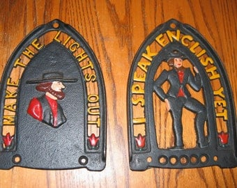 Pair of Vintage AMISH Iron Trivets- Two for One! Excellent condition