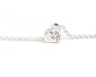 Tiny Love -  Free Floating Heart Pendant in Sterling Silver Hand Stamped - Tiny Super Tiny