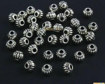 50Pcs Antique Silver Pumpkin Bead Spacer Pumpkin Bead For Jewerly 5x4mm (PND1473)