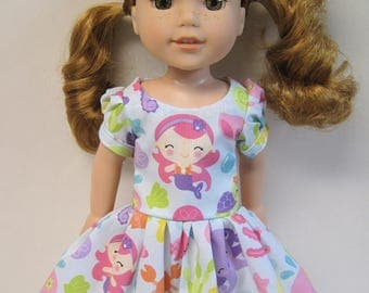Under the Sea in Blue, Short Sleeved Dress for your 14.5 Inch Doll