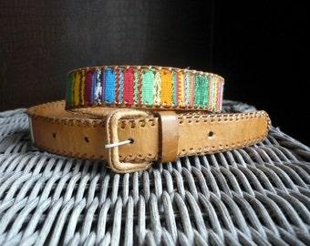 "Vintage woven cotton and leather belt / ethnic boho hippie southwestern textile belt size 33"" - 37.5"" M - L"