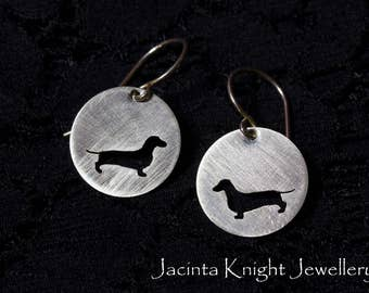 Sterling silver sausage dog earrings