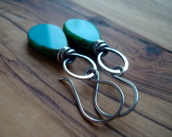 Turquoise earrings - Sterling silver earrings - Wire wrapped earrings - Turquoise jewellery - Boho jewelry - Casual earrings