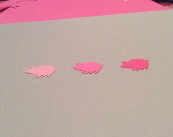 50 Hand Punched PIGS You choose shade of pink 1 inch for Confetti, Birthday baby,Invitations,scrapbooking,