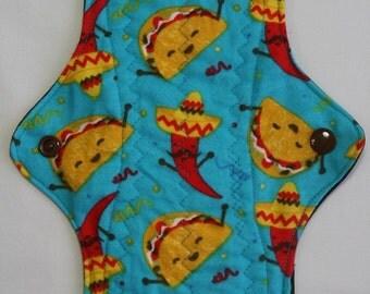 ZORB Kiki Mama Cloth Menstrual Pad Size is Regular Taco chilli chile