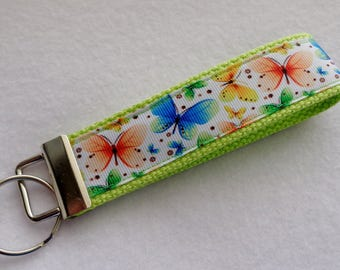 Key Fob/ Wristlet/ Keychain/Butterfly print  /Ready to Ship
