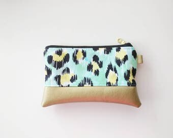 Aqua and gold leopard coin purse