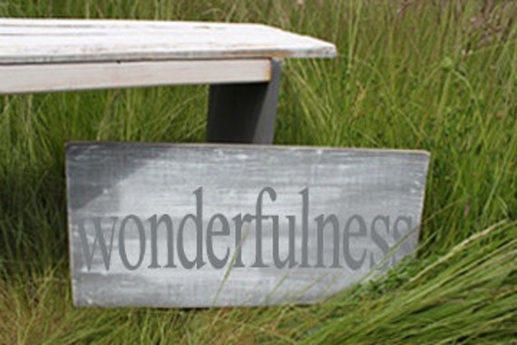 Distressed Aged Pine Wood Wall Art WONDERFULNESS Sign