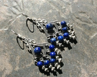 Lapis Lazuli Chandelier Earrings with Sterling Silver leverbacks