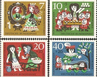 Snow White - Grimm Fairy Tales - 1962 FRG Stamp - 1 set - 4 Sheets