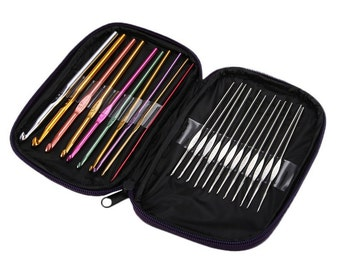 Mixed 22Pcs/set Multicolour Aluminum Crochet Hook Knitting Kit Needles Handle Knit Set Weave Craft Yarn Stitches DIY Crafts