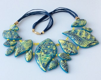 Polymer clay necklace. Mokume Gane polymer clay necklace. Green, blue, yellow necklace. Night rain on the Moon. Night forest rain necklace.