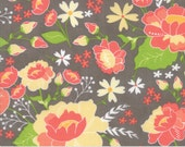 Gray and Coral Floral LAMINATE Fabric - Lulu Lane by Corey Yoder from Moda - 1/2 Yard