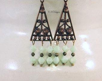 Natural Brass Chandelier Earrings, Czech Glass Beaded Earrings, Vintaj Natural Brass Dangle Pierced or Clip-on Earrings. Boho Earrings