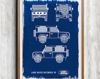 Land Rover Defender 90 Snorkel A4 Hand coated traditionally made cyanotype blueprint
